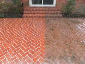 Pressure Wash Brick Patio